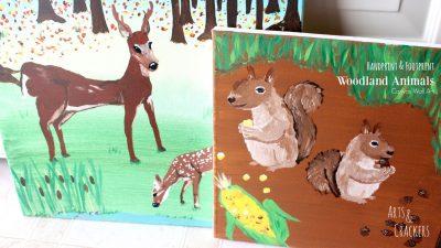 Handprint & Footprint Woodland Animals Canvas Art