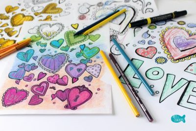 With All Thy Heart Adult Coloring Page Two Designs Vibrant on Top